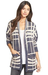 Treasurebond Plaid Open Front Knit Cardigan Navy Indigo West Plaid