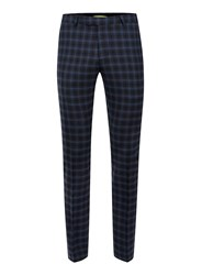 Topman Noose And Monkey Navy And Blue Check Suit Trousers