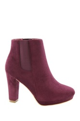 Anna Kayla Heeled Suede Bootie Red
