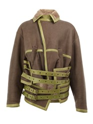 Y Project Buckled Leather Jacket Brown