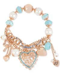 Betsey Johnson Rose Gold Tone Heart Charm And Faceted Bead Stretch Bracelet No Color