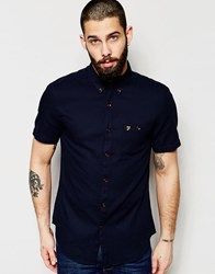 Farah Shirt With Textured Waffle Slim Fit Short Sleeves Navy