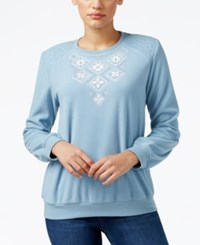 Alfred Dunner Textured Embroidered Sweatshirt Only At Macy's Dove Blue