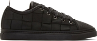 Thom Browne Black Leather And Grosgrain Woven Sneakers