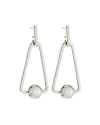 Rebecca Minkoff Rhodium Tone Large Triangular Bead Drop Earrings No Color