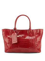 Mcm Genuine Crocodile Leather Tote Red