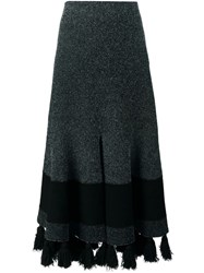 Proenza Schouler Flared Tasseled Skirt Black