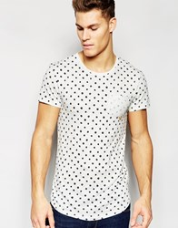 Esprit T Shirt With All Over Print Light Grey Marl