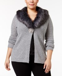 Jm Collection Plus Size Embellished Faux Fur Trim Cardigan Only At Macy's Medium Grey Heather