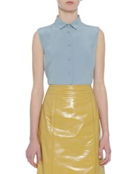 Bottega Veneta Sleeveless Silk Button Down Top Light Blue