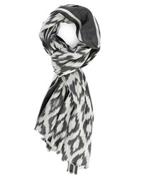 Ikks Grey Wool Scarf With White Pattern