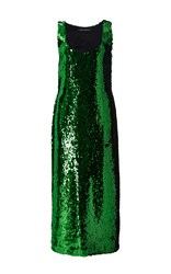 Sally Lapointe Sequin Sleeveless Dress Green