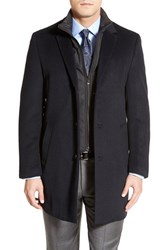 Men's Big And Tall Hart Schaffner Marx 'Kingman' Classic Fit Wool Blend Coat With Removable Zipper Bib