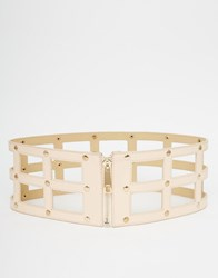 Pieces Caged Belt With Zip Fastening Nude Pink
