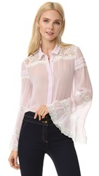 Giambattista Valli Long Sleeve Blouse Pink