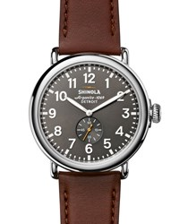 Shinola 47Mm Runwell Men's Watch Cool Gray Cognac