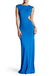 Go Couture Cap Sleeve Side Cutout Maxi Dress Blue