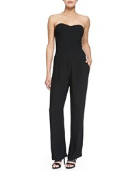 Cynthia Vincent Strapless Pleated Full Length Jumpsuit Black
