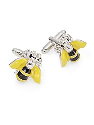 Saks Fifth Avenue Bumble Bee Cuff Links Silver