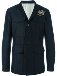 Alexander Mcqueen Skull Badge Military Jacket Blue