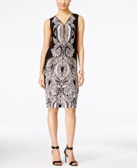 Inc International Concepts Petite Printed Sheath Dress Only At Macy's Deep Black
