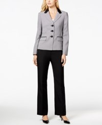 Le Suit Three Button Herringbone Jacket Pantsuit Black White
