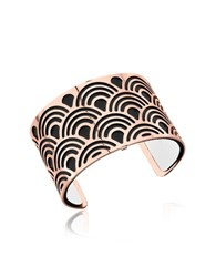 Les Georgettes Poisson Rose Gold Plated Bracelet W Black And White Reversible Leather Strap