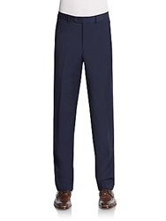Saks Fifth Avenue Slim Fit Flat Front Wool Trousers