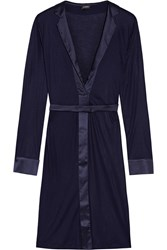 La Perla Morgane Silk Satin Trimmed Stretch Jersey Robe Indigo