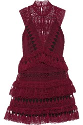 Self Portrait Tiered Guipure Lace Mini Dress Burgundy