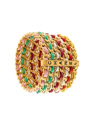 Chanel Vintage Multicolour Leather Chain Bangle
