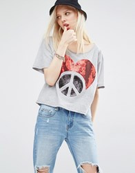 Love Moschino Sequin Logo T Shirt Grey