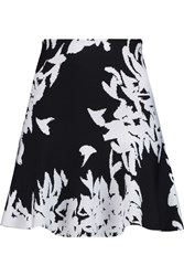 Issa Winnie Stretch Floral Jacquard Mini Skirt Black