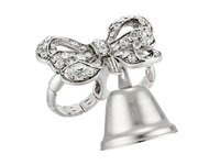 Betsey Johnson Betsey Runway Ring Wedding Bells Crystal Silver Ox Plate Ring
