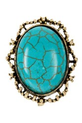 Natasha Accessories Wire Wrapped Semi Precious Stone Ring Blue