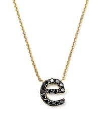 Kc Designs Initial Pendant Necklace With Black Diamond Accent In 14K Yellow Gold 16