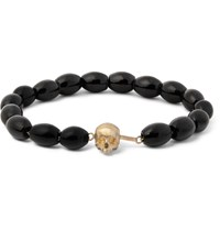 Luis Morais Skull Clasp Gold And And Glass Bead Bracelet Black