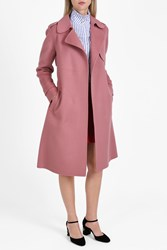 Theory Double Faced Wool Trench Coat Pink