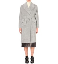Tomorrowland Textured Alpaca Blend Belted Coat Light Grey