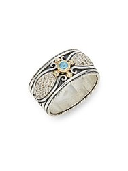 Konstantino Aspasia 18K Gold And Sterling Silver Carved Ring Silver Gold