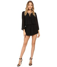 Show Me Your Mumu Tillie Tie Romper Black Chiffon Women's Jumpsuit And Rompers One Piece