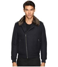 The Kooples Technical Taffetas Biker Jacket Navy Men's Coat