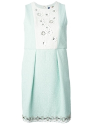 Msgm Flower Applique Jacquard Dress Green