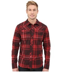 Black Diamond Long Sleeve Stretch Technician Shirt Deep Torch Port Plaid Men's Clothing Red