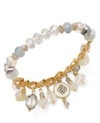 Inc International Concepts Gold Tone White Multi Stone Stretch Charm Bracelet Only At Macy's