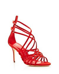 Giuseppe Zanotti Cage Suede Strappy High Heel Sandals Red