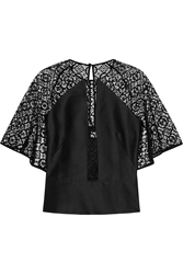 Temperley London Paneled Cotton Blend Lace And Faille Top Black