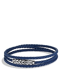 David Yurman Chevron Triple Wrap Bracelet In Blue Silver Blue