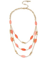 Kenneth Cole Coral Canyon Gold Tone Coral Bead Layered Bib Necklace