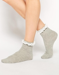 Asos Lace Trim Ankle Socks Grey